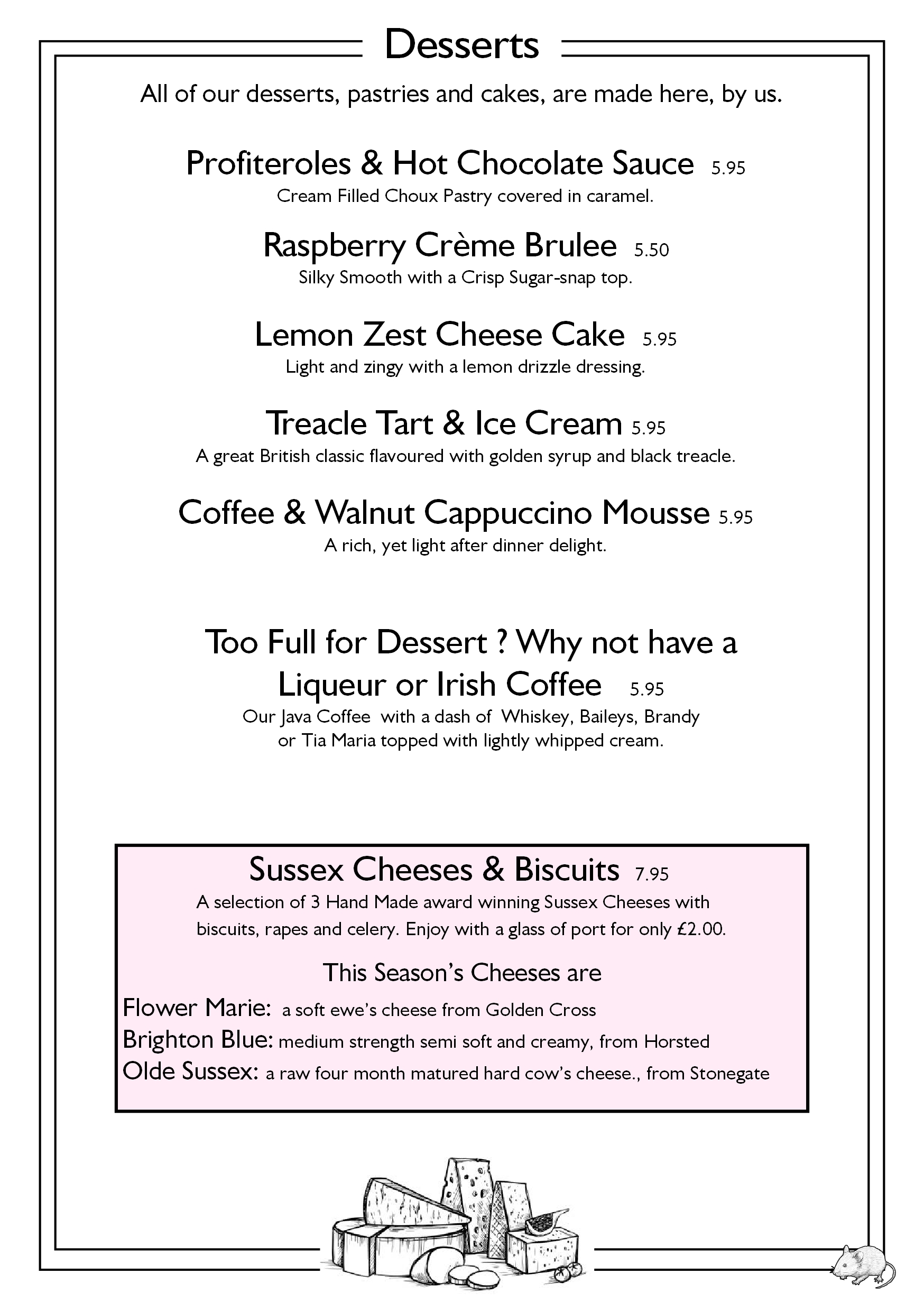 page 5 desserts and cheeses callenders restaurant hailsham