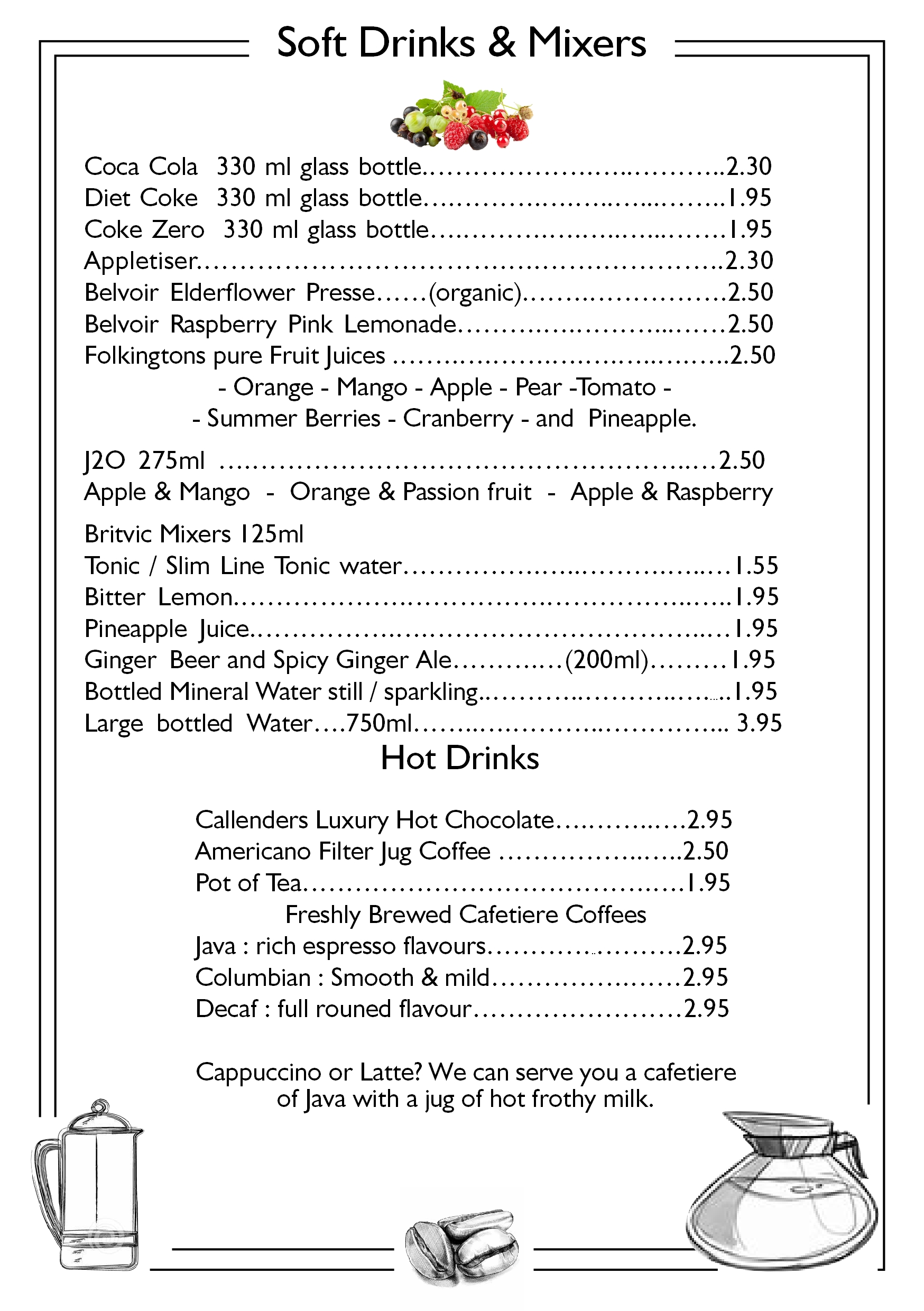 page 6 soft drinks juices and hot drinks callenders restaurant hailsham