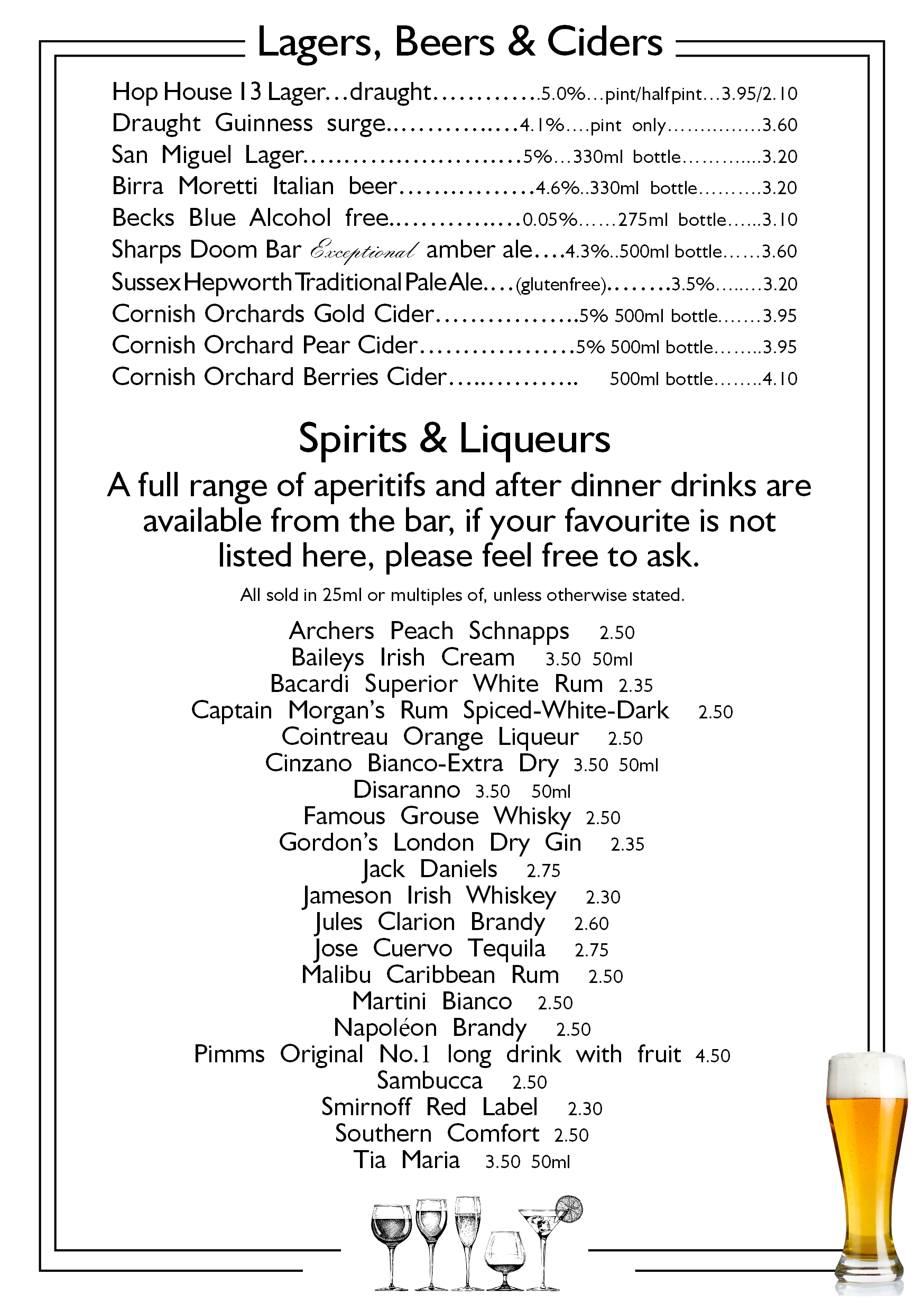 page 7 beers ciders and spirits callenders restaurant hailsham