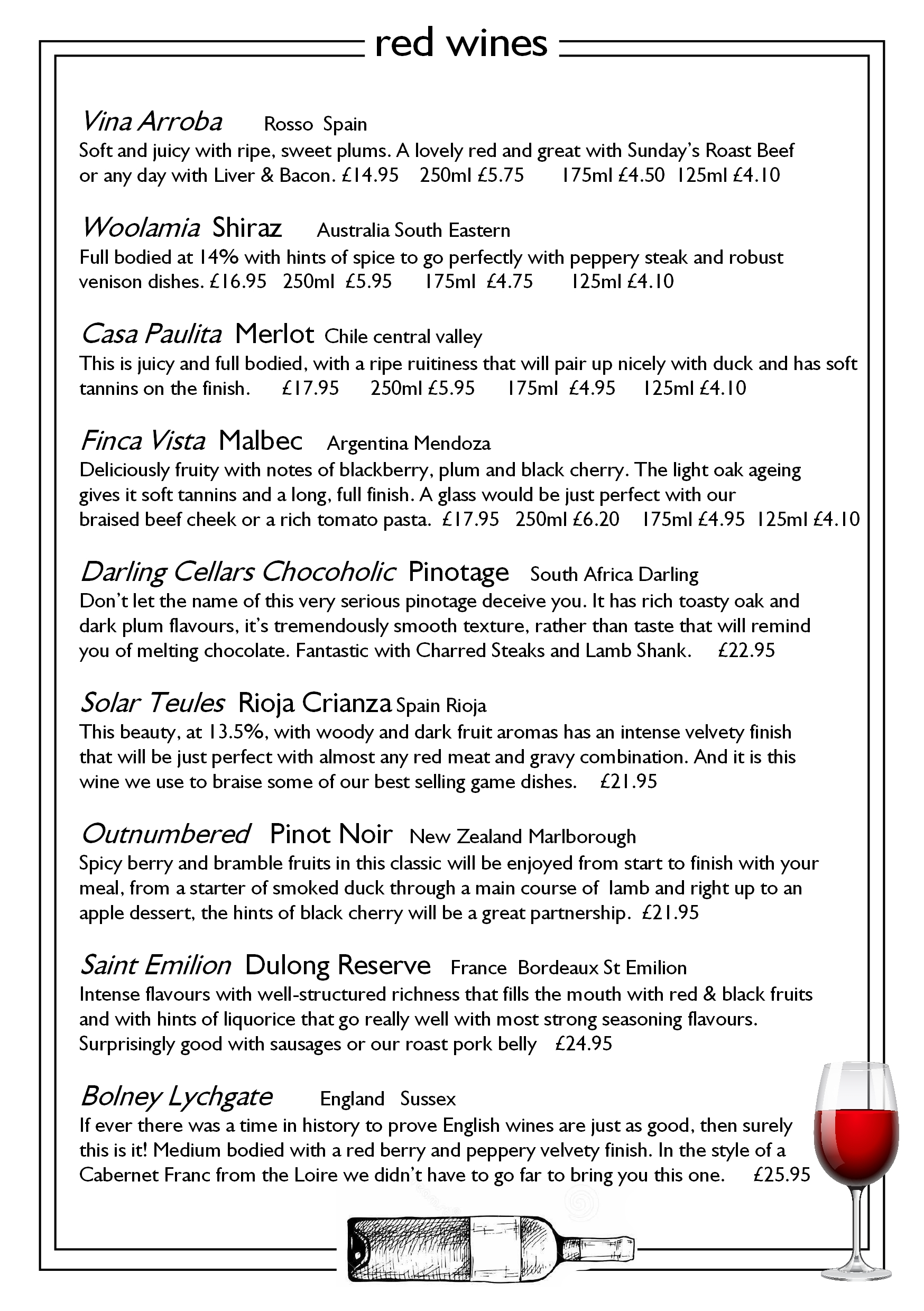 page 9 red wines callenders restaurant hailsham